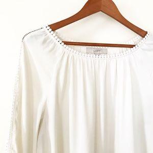 Loft Cream Ivory Lace Long Sleeve Blouse
